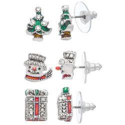 Napier 3-Pc. Tree Snowman Present Holiday Stud Earrings
