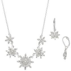 Napier Rhinestone Snowflake Necklace & Earrings Set