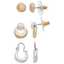Napier 3 Pc. Two-Tone Textured Stud & Hoop Earring Set