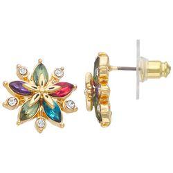 Napier Rainbow Rhinestone Poinsettia Post Earrings