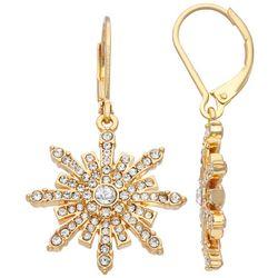 Napier Holiday Rhinestone Snowflake Drop Earrings