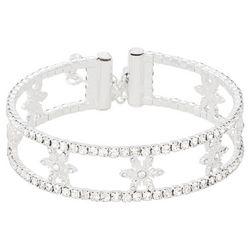 Napier Silver Rhinestone Snowflake Bracelet
