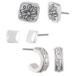 Napier 3-pc. Antique Silver Tone Stud Earring Set