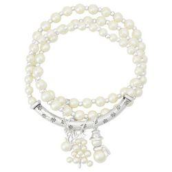 Napier 3-Pc. Snowman Faux Pearl Stretch Bracelets