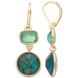 Napier Emerald Rectangle and Circle Faceted Drop Earrings