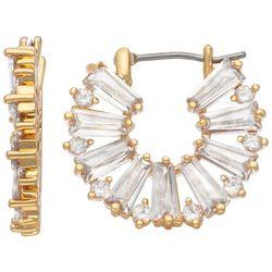 Napier Goldtone Cubic Zirconia C-Hoop Earrings