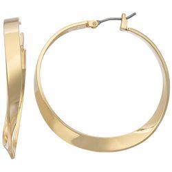 Napier Gold Tone Twist Hoop Earrings