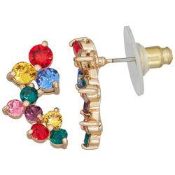 Napier Gold Tone Colorful Rhinestone Crawler Earrings