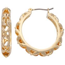 Napier Gold Tone Gold Woven Detail Hoop Earrings