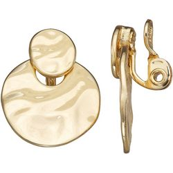 Napier Gold Tone Hammered Disc Clip Earrings
