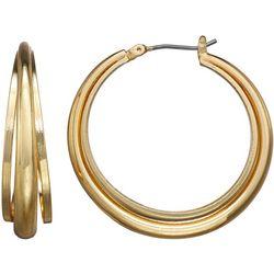 Napier Gold Tone Triple Row Hoop Earrings
