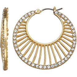 Napier Gold Tone Crystal Cut Out Hoop Earrings