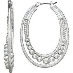 Napier Textured Bead Click It Hoop Earrings