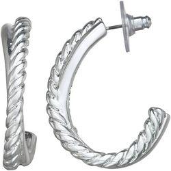 Napier Small Textured C Hoop Post Top Earrings