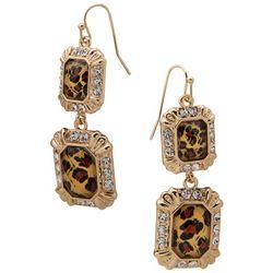 Gloria Vanderbilt Cheetah Rhinestone Hook Earrings