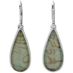 Gloria Vanderbilt SIlvertone Abalone Long Teardop Earrings