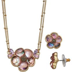 Napier Pink Flower Pendant & Earring Set