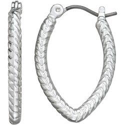 Napier Textured Pointed Hoop Earrings