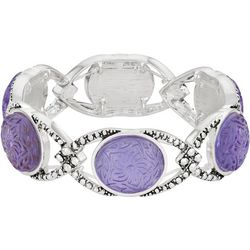 Napier Purple Flower Cabochon Stretch Bracelet