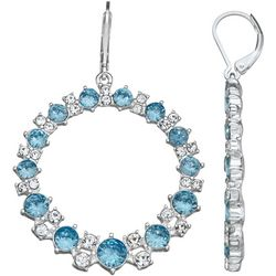 Napier Blue & Clear Stone Ring Drop Earrings