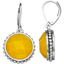 Napier Yellow Round Drop Leverback Earrings