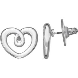 Napier Silver Tone Heart Twist Stud Earrings