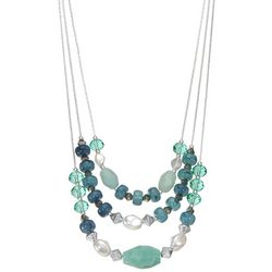 Napier Silver Tone Cluster Bead Necklace