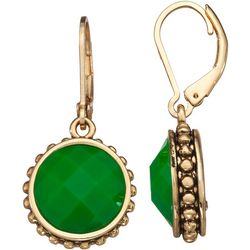 Napier Green Facet Round Drop Earrings