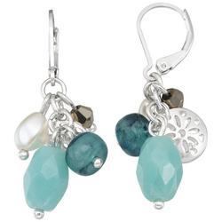 Silver Tone Cluster Drop Earrings