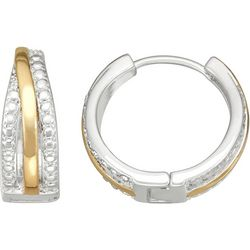 Napier  Two-Tone Triple Row Huggie Earrings