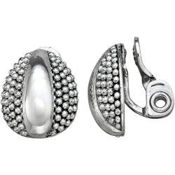 Napier Textured Silver Tone Clip Earrings
