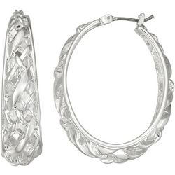 Napier Oval Woven Texture Hoop Earrings