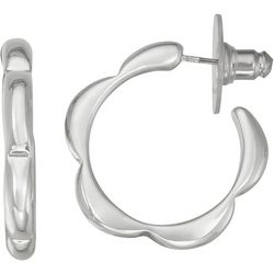 Napier Silver Tone Rolled Edge Hoop Earrings