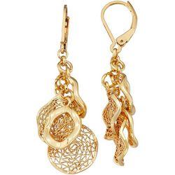 Napier Gold Tone Shakey Coins Drop Earrings