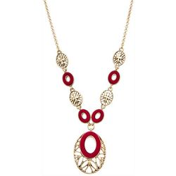 Napier Gold Tone Fashion Velvet Pendant Necklace