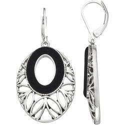 Napier Black Velvet Silver Tone Drop Earrings