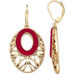 Napier Red Velvet Gold Tone Drop Earrings
