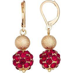Napier Gold Tone Double Ball Drop Earrings