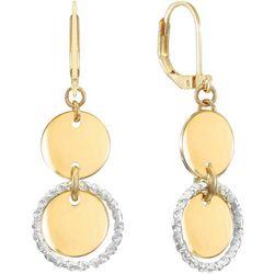 Gloria Vanderbilt Two Tone Double Disc Drop Earrings