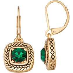 Napier Faux Emerald Gold Tone Square Dangle Earrings