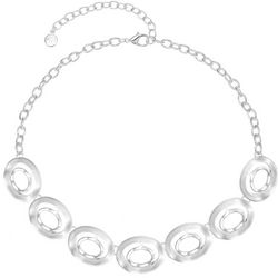 Gloria Vanderbilt Hammered Oval Rings Gem Frontal Necklace