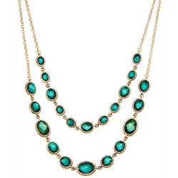 Napier 2 Row Faux Emerald Layered Necklace