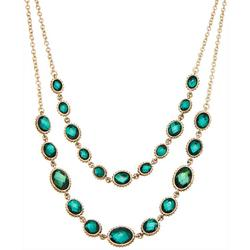 2 Row Faux Emerald Layered Necklace