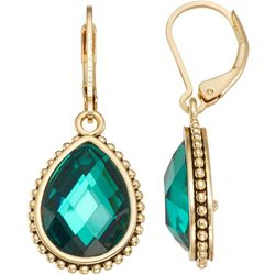 Napier Faux Emerald Teardrop Lever Back Earrings