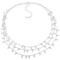You're Invited 3 Row Silver Tone Chain Faux Pearl Necklace