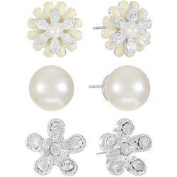 Gloria Vanderbilt 3-Pc. Floral Rhinestone Pearl Earrings