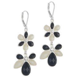 Gloria Vanderbilt Two Tone Double Flower Drop Earrings