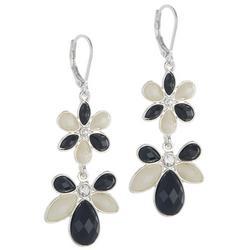 Two Tone Double Flower Drop Earrings