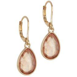 Gloria Vanderbilt Peach Faceted Teardop Earrings