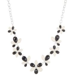 Gloria Vanderbilt Two Tone Faceted Flowers Frontal Necklace